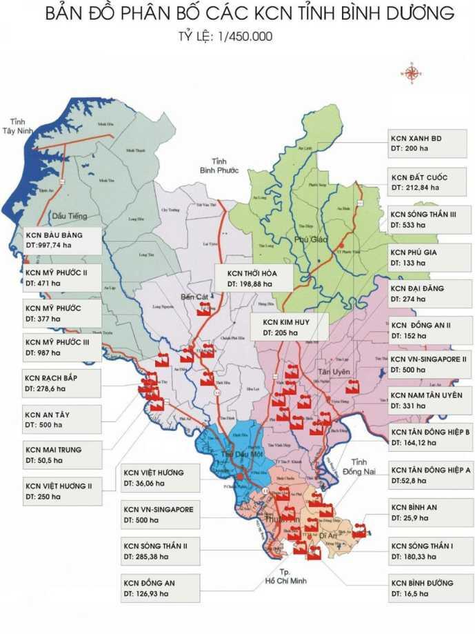 sơ đồ KCN khu vực bất động sản Tân Uyên